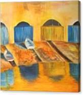 Fishermens Boats At Sundown Canvas Print