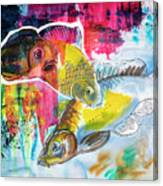 Fishes In Water, Original Painting Canvas Print