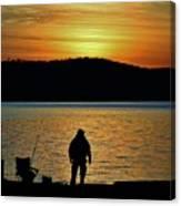 Fishing Along The Hudson Canvas Print