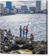 Fishing Along The Malecon Canvas Print