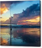 Fishing And Watching The Sunrise Canvas Print