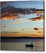 Fishing At Sunset On Lake Titicaca Canvas Print