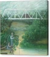 Fishing At The Pump House On White Oak Creek Canvas Print
