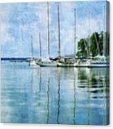 Fishing Bay Reflections Canvas Print