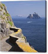 Fishing Boat Approaching Skellig Michael, County Kerry, In Spring Sunshine, Ireland Canvas Print