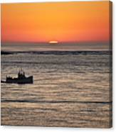 Fishing Boat At Sunrise. Canvas Print