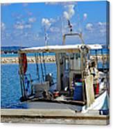 Fishing Boat Moored In The Harbor Of Katakolon Greece Canvas Print