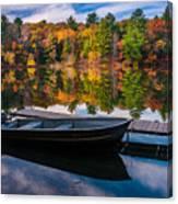 Fishing Boat On Mirror Lake Canvas Print
