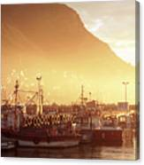 Fishing Boats At Dawn Kalk Bay South Africa Canvas Print