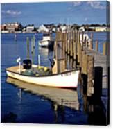 Fishing Boats At Dock Ocracoke Village Canvas Print