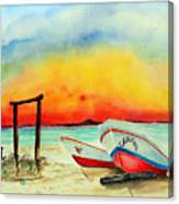 fishing boats Corozal Belize Canvas Print