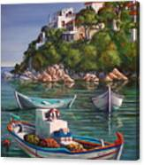 Fishing Boats In Skiathos Old Port Canvas Print