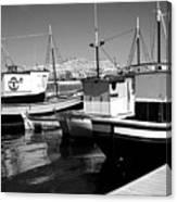 Fishing Boats Monochrome Canvas Print