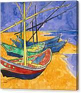 Fishing Boats on the Beach at Saintes Maries de la Mer Canvas Print