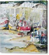 Fishing Boats Settled Aground During Ebb Tide Canvas Print