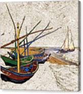 Fishing Boats Van Gogh Digital Art Canvas Print