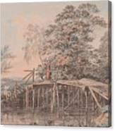 Fishing By A Footbridge Canvas Print