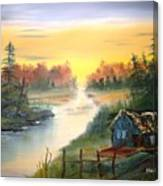 Fishing Cabin At Sunrise Canvas Print