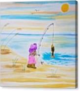 Fishing Girl Canvas Print