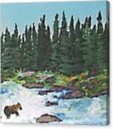 Fishing In Yellowstone National Park Canvas Print