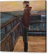 Fishing Off Sausalito Boardwalk Canvas Print