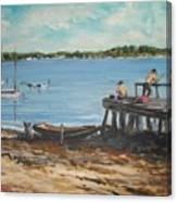 Fishing Off The Docks At Point Judith R.i. Canvas Print