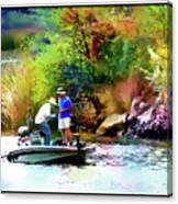 Fishing On Saguaro Lake In Arizona Canvas Print