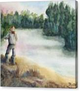 Fishing On The Banks Of The Churchill River, Sask, Ca Canvas Print