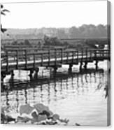 Fishing Pier And Train Tracks Canvas Print