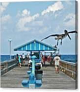 Fishing Pier With Flying Pelican Canvas Print