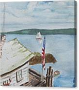 Fishing Shack With Old Glory Canvas Print