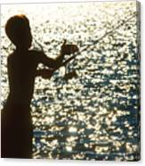 Fishing Silhouette Youngster Canvas Print