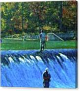 Fishing The Spillway 2 Canvas Print