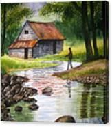 Fishing Upstream Canvas Print