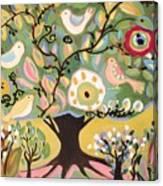 Five Birds In Garden Tree Canvas Print