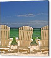 Five Chairs On The Beach Canvas Print