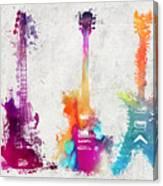 Five Colored Guitars Canvas Print