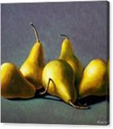Five Golden Pears Canvas Print