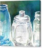 Five Jars In Window Canvas Print