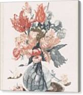 Five Prints With Flowers In Glass Vases, Anonymous, After Jean Baptiste Monnoyer, 1688 - 1698 Canvas Print