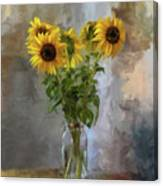 Five Sunflowers Centered Canvas Print