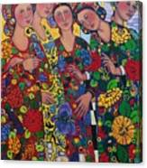Five Women And The Iris Canvas Print