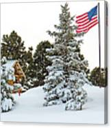 Flag And Snowy Pines Canvas Print