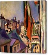 Flag Decorated Street 1906 Canvas Print