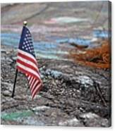 Flag In A Crack In The Pavement Canvas Print