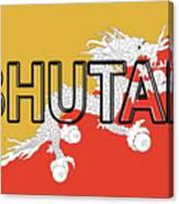 Flag Of Bhutan Word Canvas Print