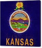 Flag Of Kansas Grunge Canvas Print