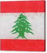 Flag Of Lebanon Grunge Canvas Print