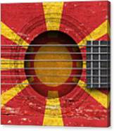 Flag Of Macedonia On An Old Vintage Acoustic Guitar Canvas Print