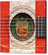 Flag Of Peru On An Old Vintage Acoustic Guitar Canvas Print
